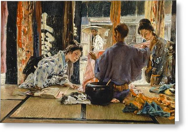 Inspecting Greeting Cards - The Silk Merchant, Japan, 1892 Oil On Canvas Greeting Card by Robert Frederick Blum
