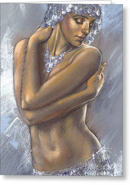 Sequins Greeting Cards - The Silver Dancer crop Greeting Card by Zorina Baldescu