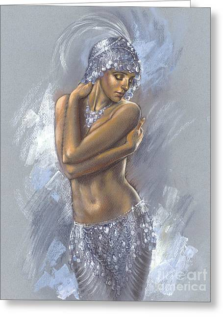 Sequins Greeting Cards - The Silver Dancer Greeting Card by Zorina Baldescu