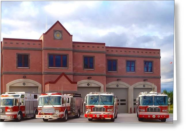 Brigade Greeting Cards - The Silver Lake Fire Department  Greeting Card by Lanjee Chee