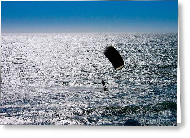 Kite Surfing Greeting Cards - The Silver Surfer Greeting Card by Pete Edmunds