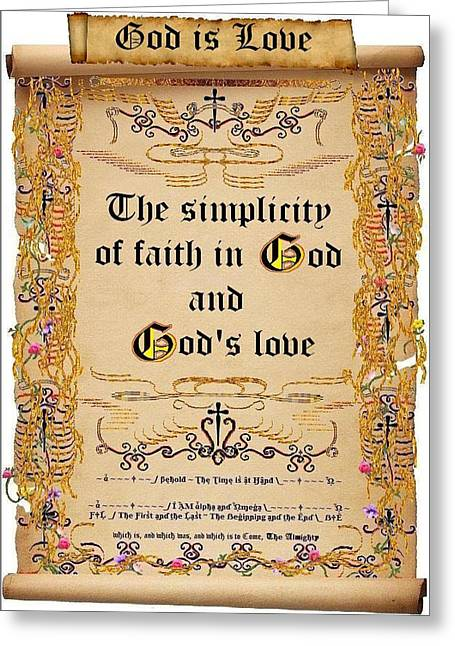 Calligraphy Print Digital Art Greeting Cards - The Simplicity of God Greeting Card by Stephen Kovacs