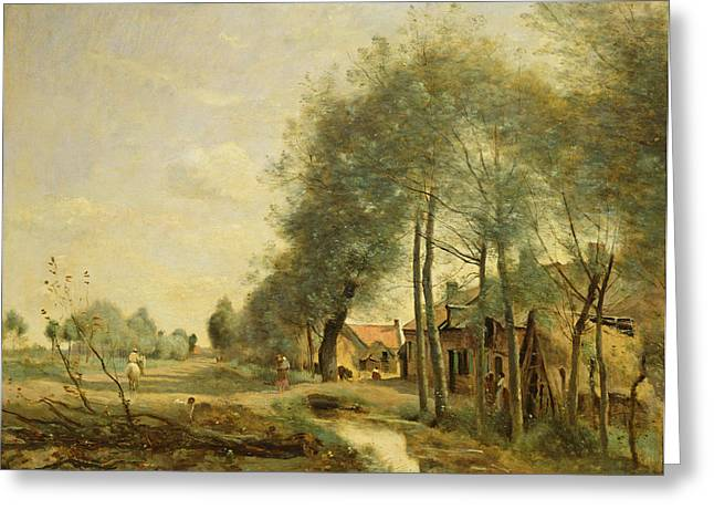 Sins Greeting Cards - The Sin-le-noble Road Near Douai, 1873 Oil On Canvas Greeting Card by Jean Baptiste Camille Corot