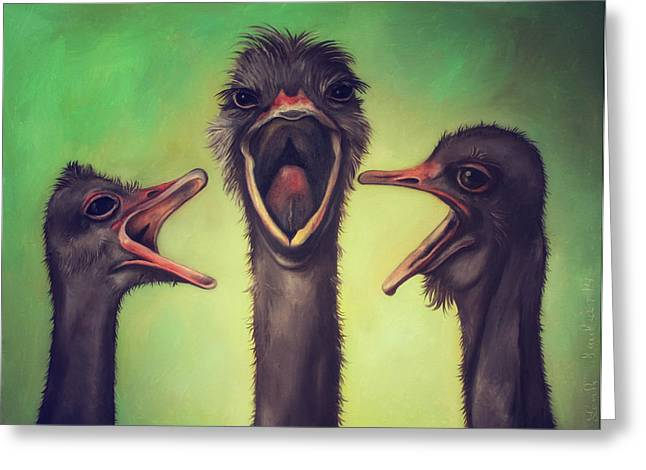 Emu Greeting Cards - The Singers Greeting Card by Leah Saulnier The Painting Maniac