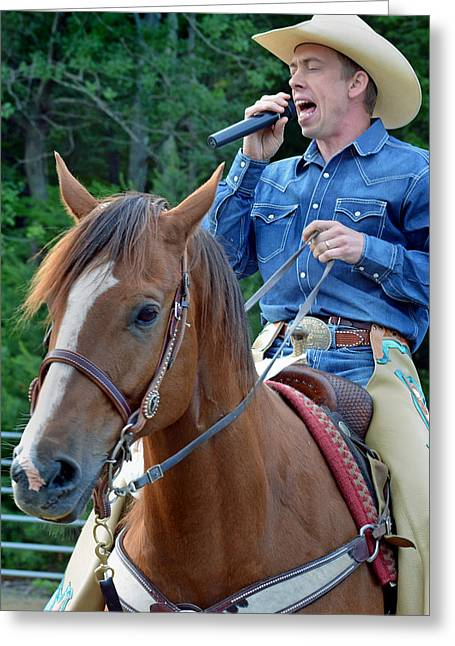 Rodeo Greeting Cards - The Singing Cowboy Greeting Card by Gary Keesler