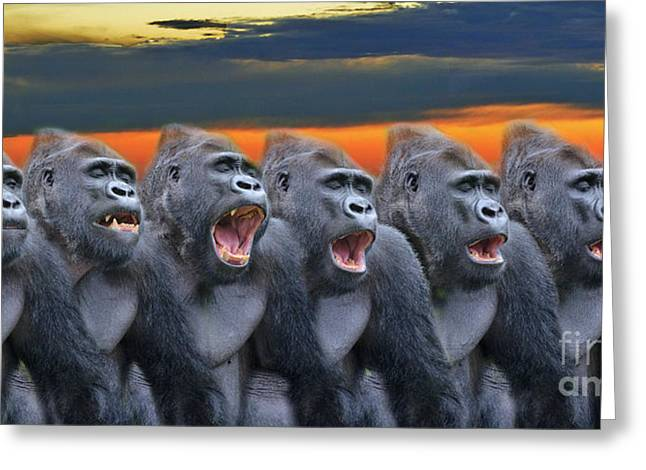 Bonding Digital Art Greeting Cards - The Singing Gorillas Greeting Card by Jim Fitzpatrick