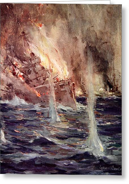 Wwi Greeting Cards - The Sinking of the Gneisenau Greeting Card by Cyrus Cuneo