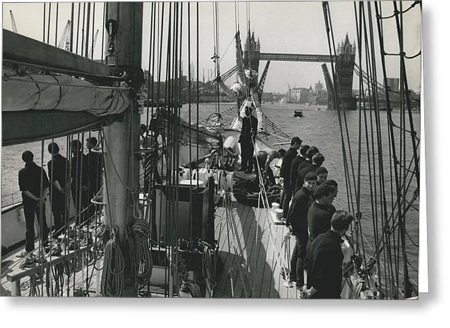 """Retro Photography Greeting Cards - The """"sir Winston Churchill"""" Schooner visits the pool of London. Greeting Card by Retro Images Archive"""