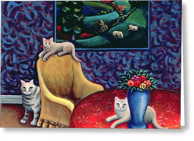 Cat Picture Greeting Cards - The Sitting Room Greeting Card by Jerzy Marek
