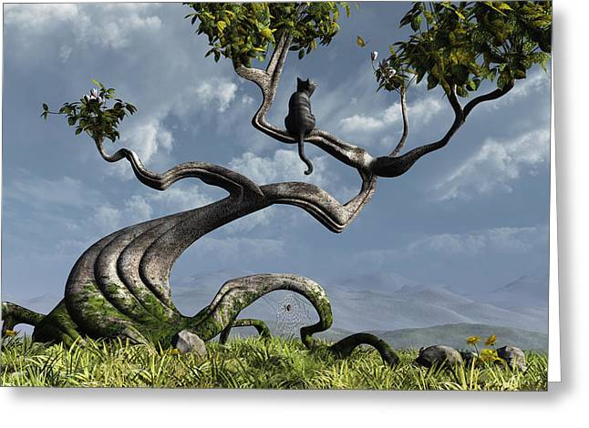 Blue Cat Greeting Cards - The Sitting Tree Greeting Card by Cynthia Decker