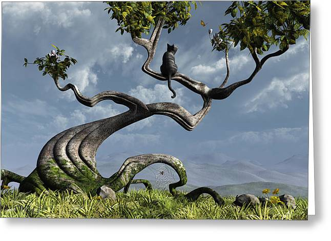 Whimsical. Digital Greeting Cards - The Sitting Tree Greeting Card by Cynthia Decker