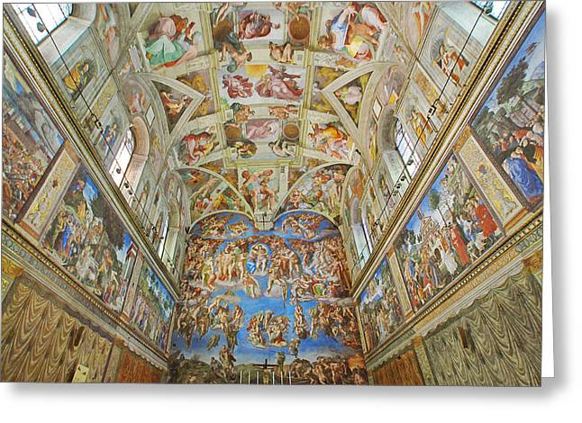 Buonarroti Photographs Greeting Cards - The Sixtine Chapel Greeting Card by Walter Weinberg
