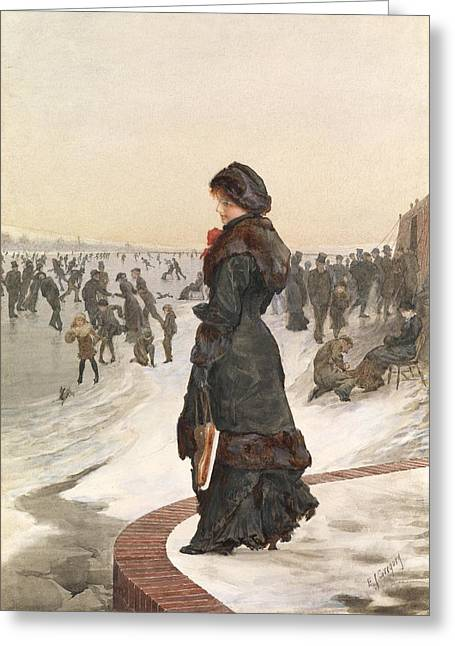 Ice-skating Greeting Cards - The Skater Greeting Card by Edward John Gregory