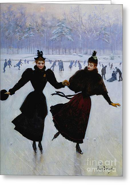 Girl Sports Greeting Cards - The Skaters Greeting Card by Jean Beraud