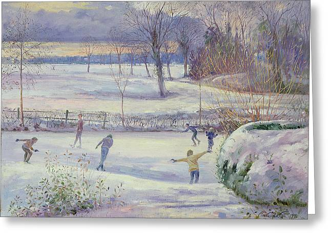 The Skating Day Greeting Card by Timothy Easton