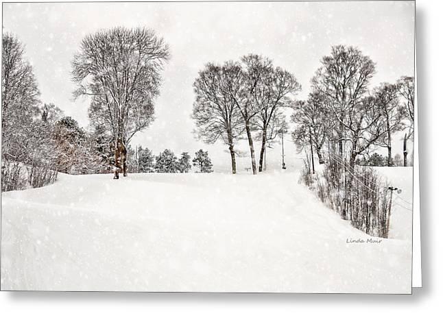 Ski Art Greeting Cards - The Ski Hill In Winter Greeting Card by Linda Muir