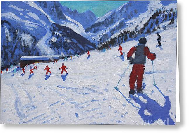 Skiing Christmas Cards Greeting Cards - The ski instructor Greeting Card by Andrew Macara