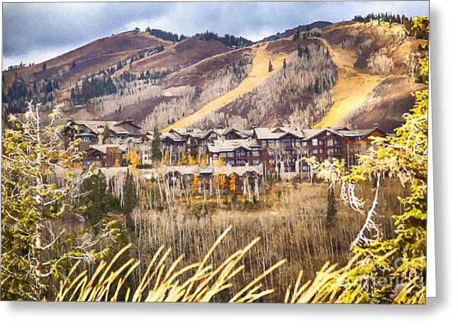 Ski Art Greeting Cards - The Ski Resort Greeting Card by David Millenheft