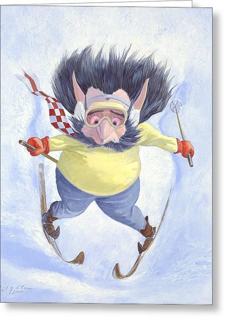 Leonard Filgate Greeting Cards - The Skier Greeting Card by Leonard Filgate