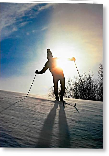 Skiing Print Greeting Cards - The Skier Greeting Card by Steve Harrington