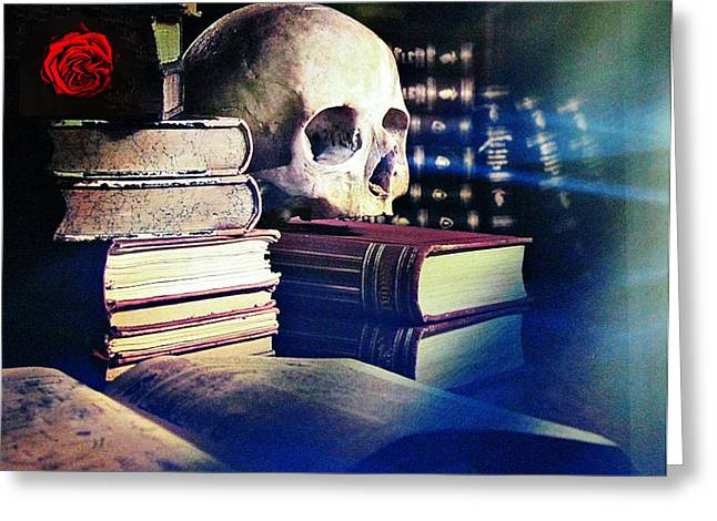 Alternative Skull Greeting Cards - The skull the spell book and the rose Greeting Card by Tom Conway