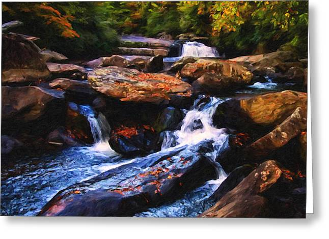 Fall River Scenes Mixed Media Greeting Cards - The skull waterfall Greeting Card by Chris Flees