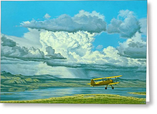 Mono Landscape Greeting Cards - The Sky-Stearman Biplane Greeting Card by Paul Krapf