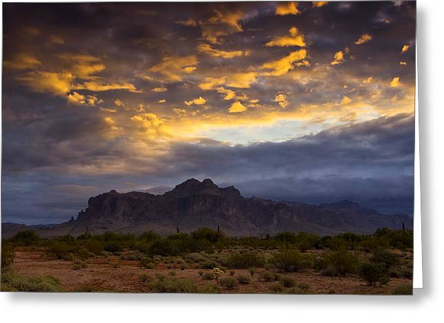 The Superstitions Greeting Cards - The Skys Aglow  Greeting Card by Saija  Lehtonen