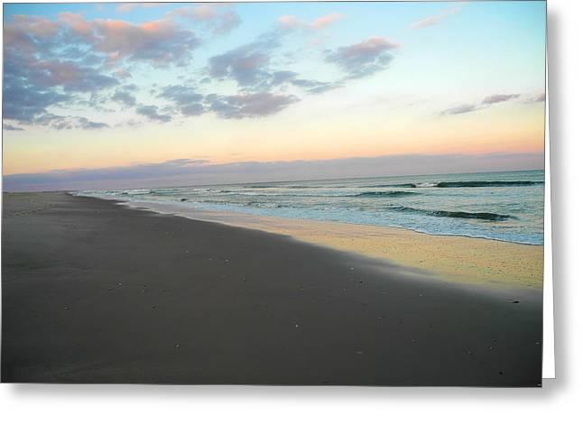 Pelicans Over Ocean Greeting Cards - The Skys Beach Greeting Card by Kari Watson