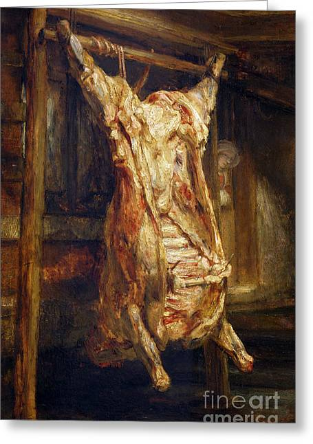 Rack Paintings Greeting Cards - The Slaughtered Ox Greeting Card by Rembrandt Harmenszoon van Rijn