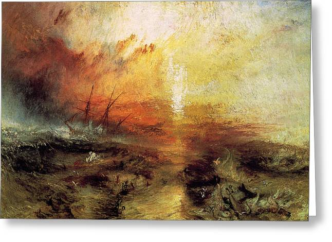 Sea Of Storms Greeting Cards - The Slave Ship 1840 Greeting Card by J M W Turner