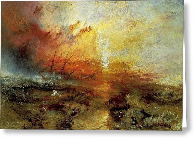 Slaves Greeting Cards - The Slave Ship Greeting Card by J M W Turner