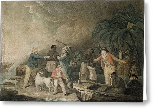 Oppression Greeting Cards - The Slave Trade, 1835 Coloured Engraving Greeting Card by George Morland