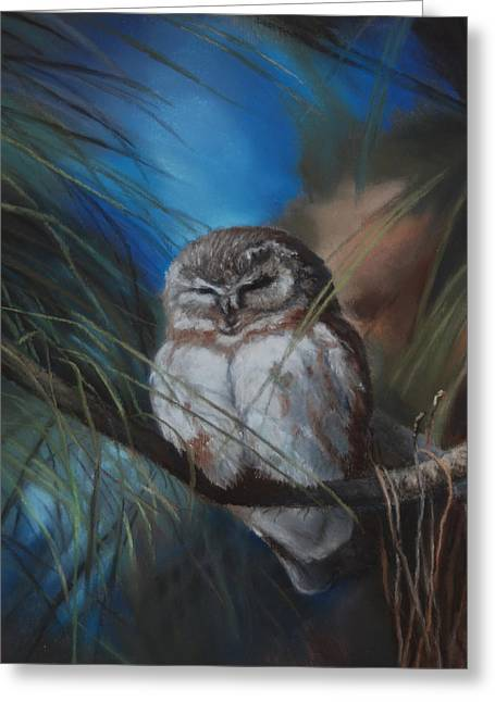 Saw Pastels Greeting Cards - The Sleep Before the Chase Greeting Card by Debbie Hughbanks