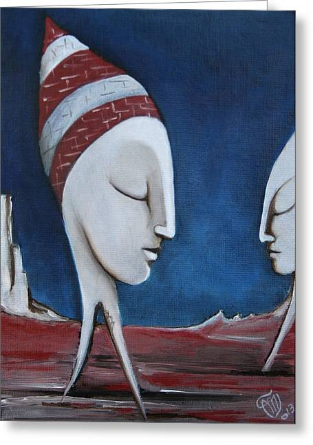 Metaphysics Paintings Greeting Cards - The Sleepers  Greeting Card by Simona  Mereu