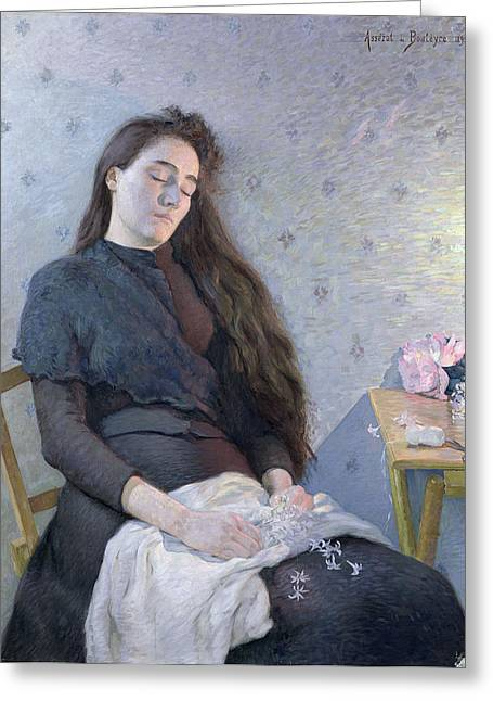 Shawl Greeting Cards - The Sleeping Flower Girl, 1892 Oil On Canvas Greeting Card by Eugene Assezat de Bouteyre