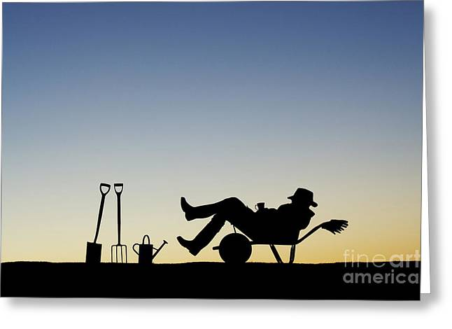 Watering Can Greeting Cards - The Sleeping Gardener Greeting Card by Tim Gainey