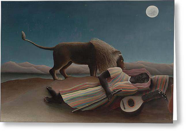 Recently Sold -  - Gypsy Greeting Cards - The Sleeping Gypsy Greeting Card by Henri Rousseau