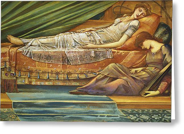 Burne Greeting Cards - The Sleeping Princess Greeting Card by Sir Edward Burne-Jones