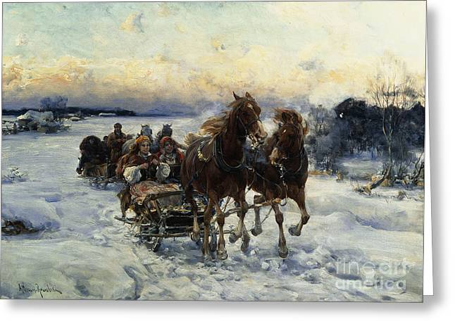 The Sleigh Ride Greeting Card by Alfred von Wierusz Kowalski