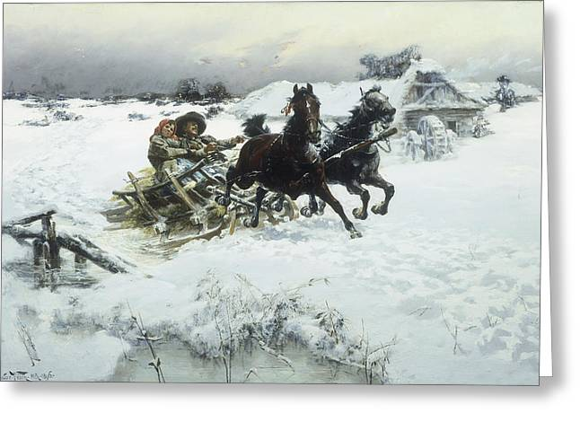Snow-covered Landscape Greeting Cards - The Sleigh ride Greeting Card by Jaroslav Friedrich Julius Vesin