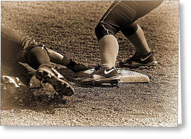 Girls Softball Greeting Cards - The Slide Greeting Card by Dale Stillman