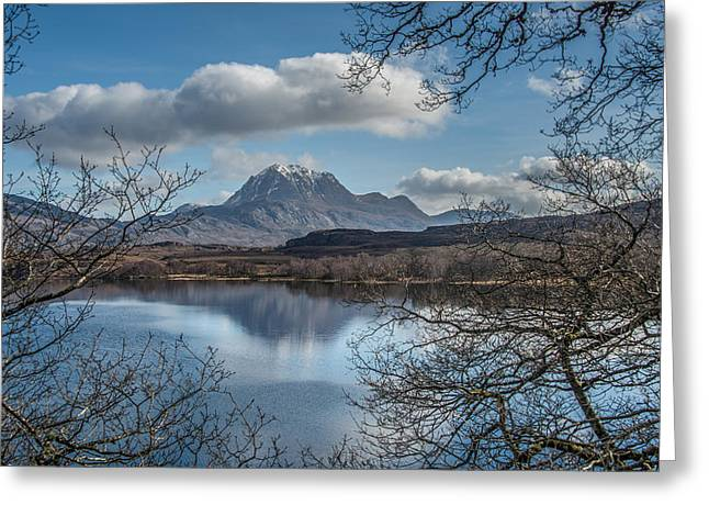 Slioch Greeting Cards - The Slioch and Loch Maree Greeting Card by Ross Hutton