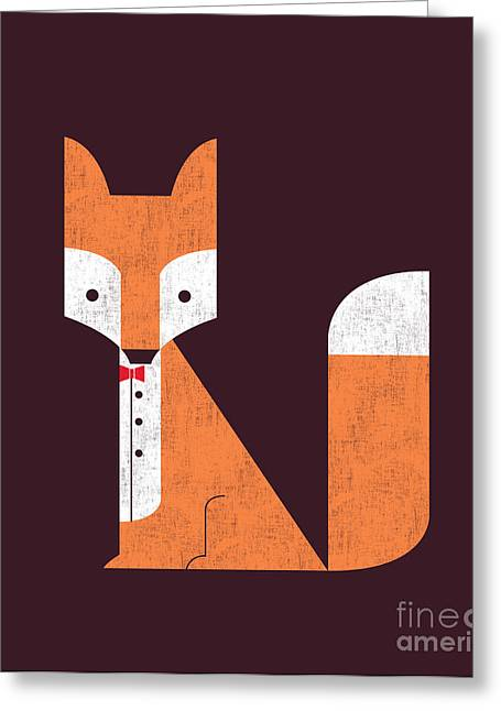 Geometric Animal Greeting Cards - The Sly Fox Greeting Card by Budi Satria Kwan