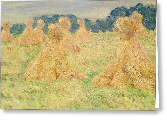 The Small Haystacks Greeting Card by Claude Monet