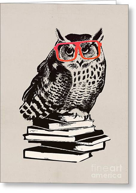 Whimsical. Digital Greeting Cards - The smart nerdy owl Greeting Card by Budi Kwan