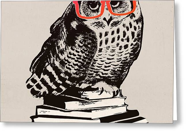 The smart nerdy owl Greeting Card by Budi Kwan