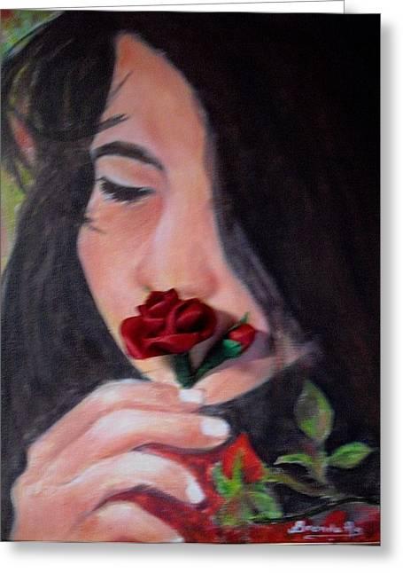 The Smell Of A Rose.. Greeting Card by Brenda Almeida-Schwaar