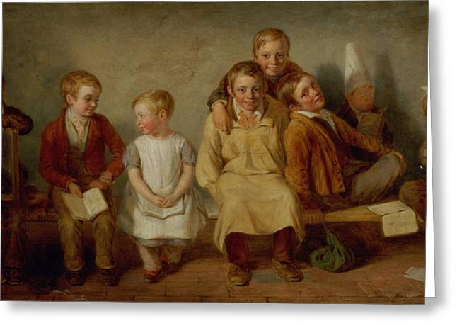 Victorian Photographs Greeting Cards - The Smile, 1842 Oil On Panel Pair Of 6132 Greeting Card by Thomas Webster
