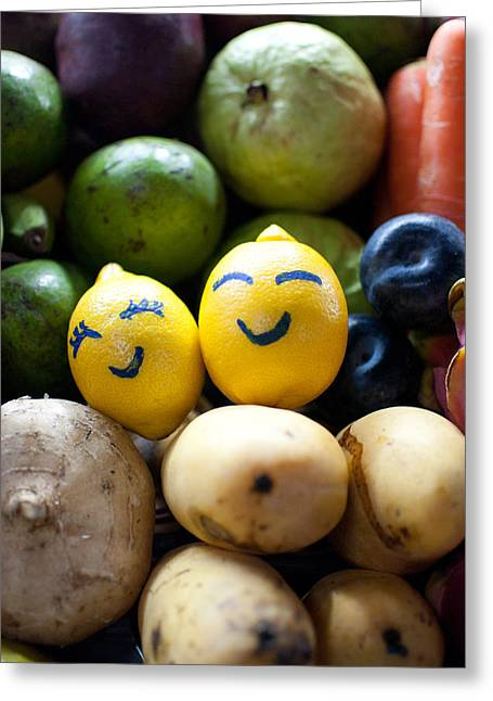 Sour Greeting Cards - The Smiling Lemons Greeting Card by Mohd Shukur Jahar